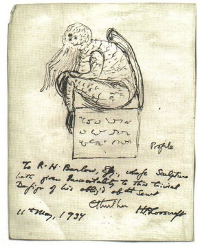 Lovecraft, sketch of the Cthulhu statuette