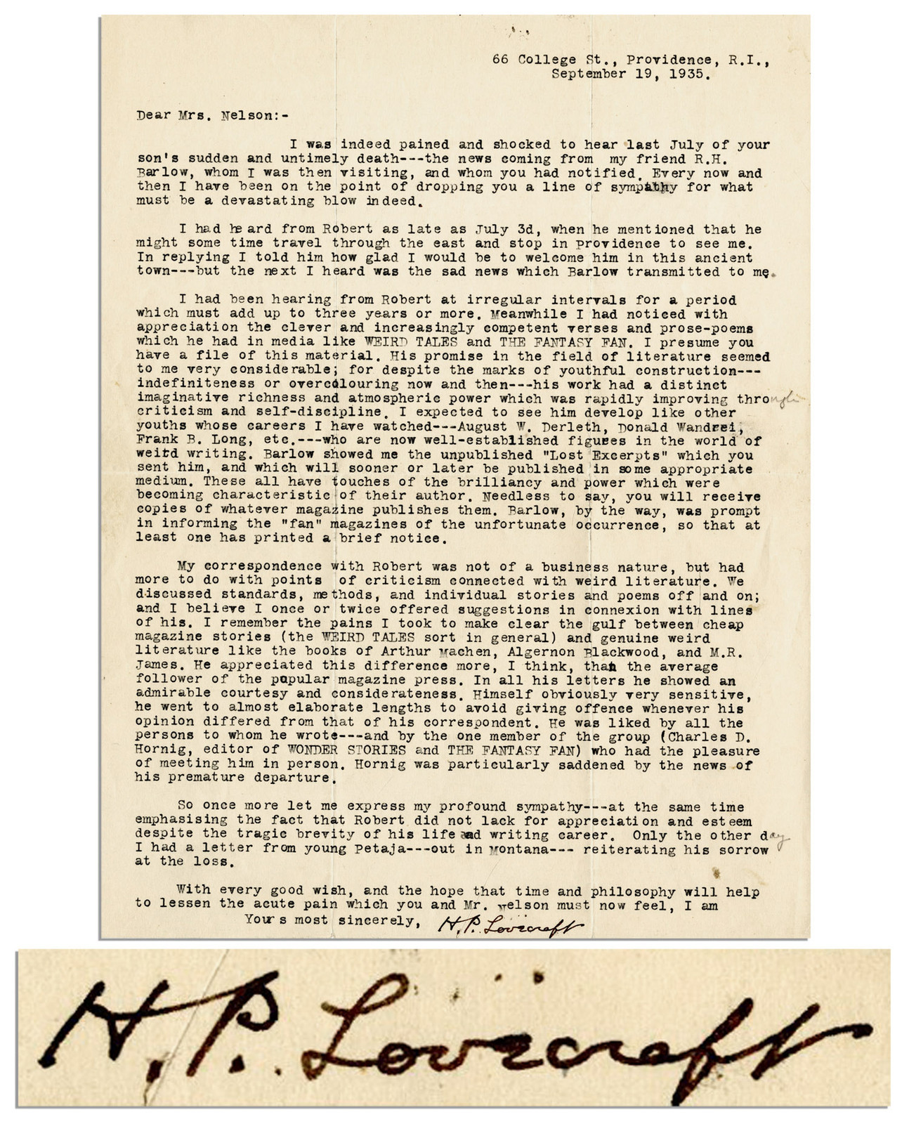 Lovecraft letter about robert nelsons death lovecraft ezine click spiritdancerdesigns Image collections