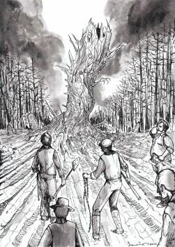 """Click to enlarge. """"Yule Log"""" -- illustration by Peter Szmer: http://peterszmer.deviantart.com/"""