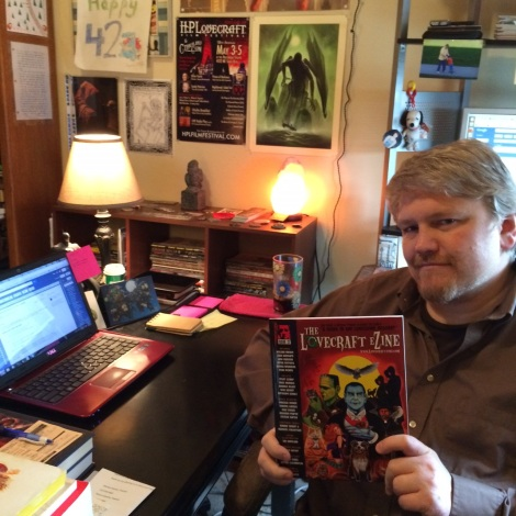 "Editor/publisher Mike Davis in the ""Lovecraft eZine"" office"