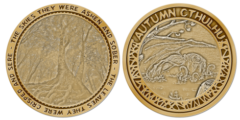 """""""Autumn Cthulhu"""" coin, featuring both covers"""